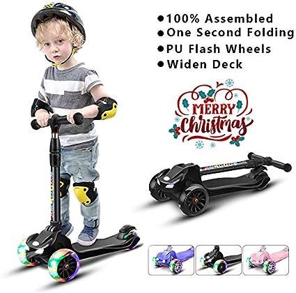 Amazon.com: 67i patinete para niños 3 ruedas niños scooters ...