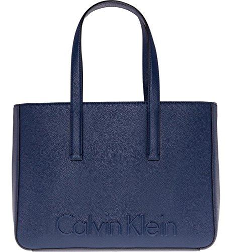 Azul Calvin Negro Mujer Klein Medium Handbag Edge fwqYrzf