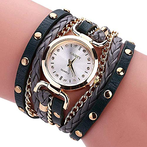 (FAVOT 2019 New Womens Bracelet Watch Ethnic Style Simple Crystal Scale Dial Leather Alloy Winding Analog Quartz Watch (Black(B)))
