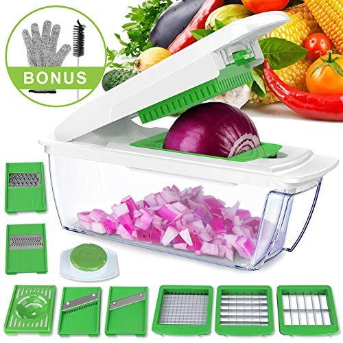 uvistare Onion Chopper, Vegetable Chopper Dicer Cutter, 8-IN-1 Mandoline Slicer Grater with Cut Resistant Glove & Brush for Eggplant, Cucumber, Zucchini, Cheese, Carrot