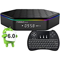 T95Z Plus Smart TV Box Android 6.0 2GB 16GB Amlogic S912 Octa Core 2.4G/5G Dual Band Wifi Set Top Google TV Box VP9 Ethernet HDMI Mini PC Media 4K Player with Wireless Touchpad Mini Keyboard (Backlit)