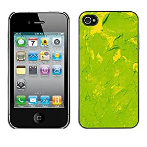 MOBMART Carcasa Funda Case Cover Armor Shell PARA Apple iPhone 4 / 4S - Smudged Lemon Green Painting