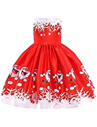 Toddler Kids Baby Girls Santa Print Princess Dress Christmas Outfits Clothes