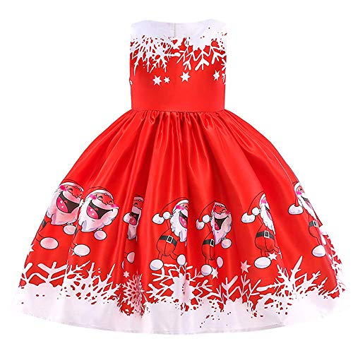 Londony ♥‿♥ Girls Christmas Dress,Toddler Kids Baby Princess Dress Infants Outfits Clothes,Santa Print Short Sleeve Dress #835 -