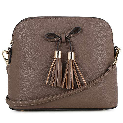 (SG SUGU Lightweight Medium Crossbody Bag   Bow Tassel Zipper Pocket   Adjustable and Removable Strap   Taupe)