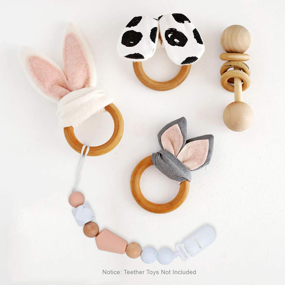 Soft Natural Wood Fit All Pacifiers /& Soothers Baby Shower Gift 2 Pack Pacifier Clips Silicone Pacifier Clips Pacifier Holder Silicone Beads