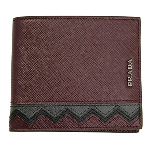 Prada Men's Saffiano Leather Bi-fold Wallet 2MO513 Granato+Antraci