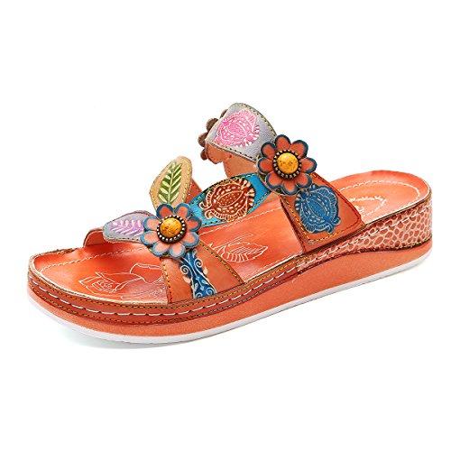 Les Femmes Gracosy Sandales Mule Dames Coincent Chaussures Sabots En Cuir Pantoufles De Plate-forme Mule Chaussures Été De Fleurs De Femmes Cru Enfiler Des Sandales Orteil Pee Chaussures Chaussures De Plage Bohème Plat Casual Orange Taille 1