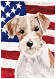 Caroline's Treasures BB9368GF Wire Hair Jack Russell Patriotic Decorative Garden Flag, Multicolor Review