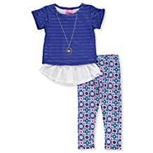 Girls Luv Pink Big Girls' 2-Piece Outfit with Necklace