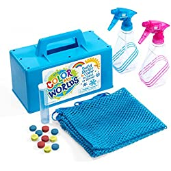 Color My Worlds Sand and Snow Coloring Kit Snow Toy Kids Toy Build a Blue Snowman Make Rainbow Snowballs Purple Igloo Green Orange Pink Sandcastles 14 Piece Kit Eco-Friendly Toy Tote Bag Included