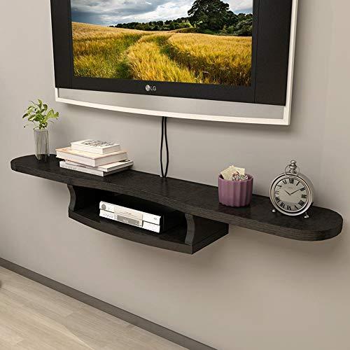 Living Cabinet Room Set - YNN Set-top Box Frame Wall-Mounted TV Cabinet Wall Partition Wall Decoration Frame Living Room Flower Shelf Display Rack (Color : Black, Size : 120cm)
