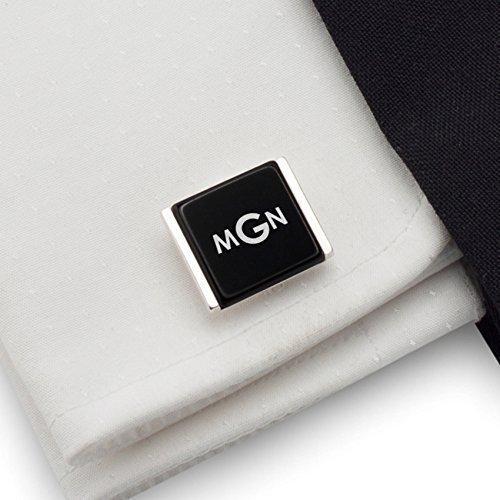 Initial cufflinks,Wedding cufflinks,Silver cufflinks, black Onyx stone, letter cufflinks,engraved cufflinks | 925 Silver, Onyx gamestone | Size 0.70x0.59 inches | Gift letter | Handmade - Engraved Onyx Cufflinks