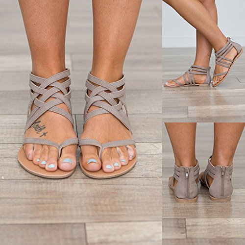 Highdas Women Summer Sandals Clip Toe Shoes Herringbone Sandals Elegant Boho Strappy Sandals Flat Pumps Party Bech Pumps Shoes Grey cYTMRNgsn
