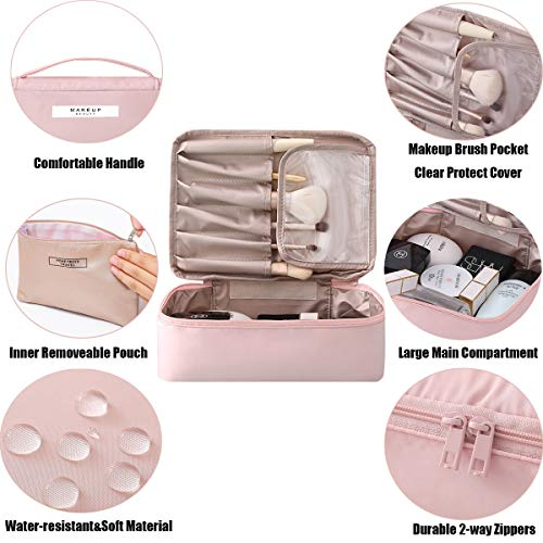 2 Pieces Makeup Bag Travel Toiletry Bag Organizer,Waterproof Multifunction Make-up Bags Portable Large Cosmetic Brush Pouch With Handle Zipper Storage Case for Women with Inner Pouch,Pink