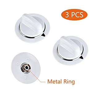 WE01x20374 3Pcs WE1M654 Timer Knob with Metal Ring for General Electric Dryer & Hotpoint Dryers – Replaces AP3995098 WE01M0443 WE1M443