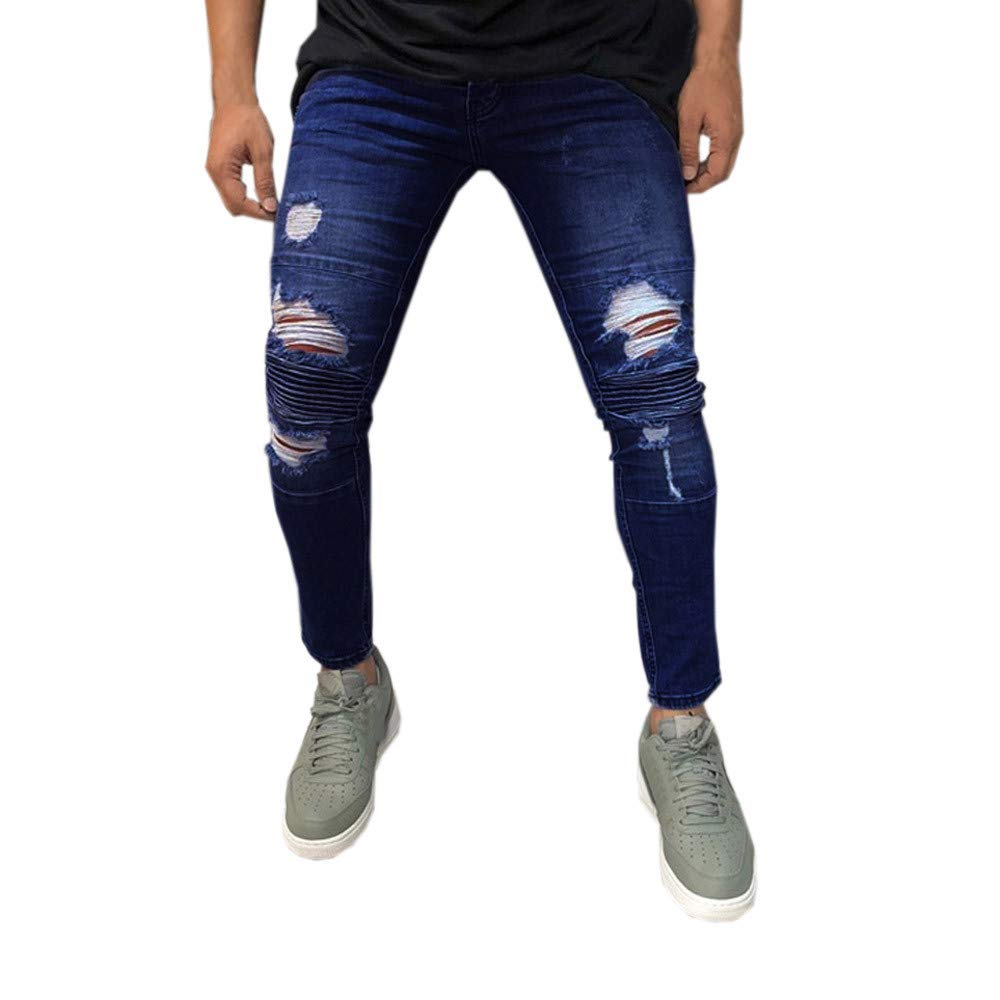 Cinhent Pants Mens Skinny Stretch Denim Distressed Ripped Long Jeans Trousers