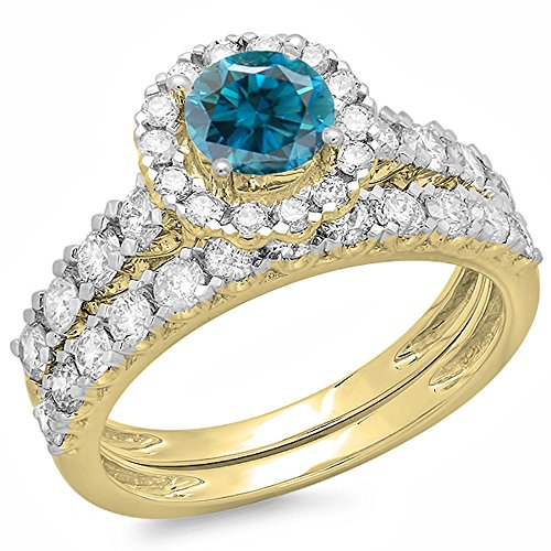 1.85 Carat (ctw) 14K Yellow Gold Round Blue & White Diamond Bridal Engagement Ring Set (Size 7) (Bridal Sets White Gold Blue)