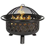Cheap Belleze Fire Bowl Fire Pit Patio Backyard Outdoor Garden Stove Firepit Wood Burning w/ Lid