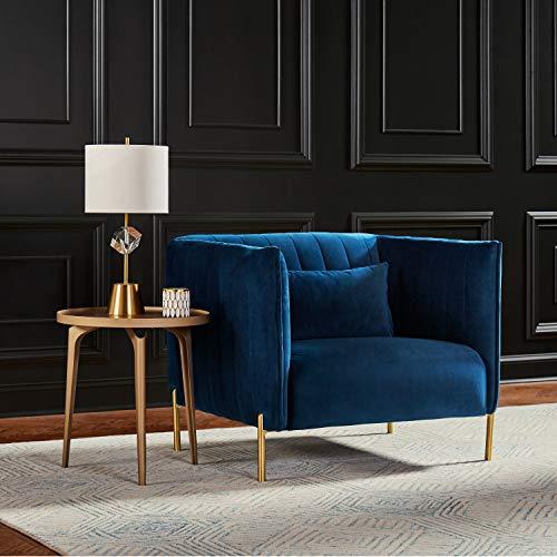 Rivet Frederick Tufted Mid-Century Modern Room Chair, Blue