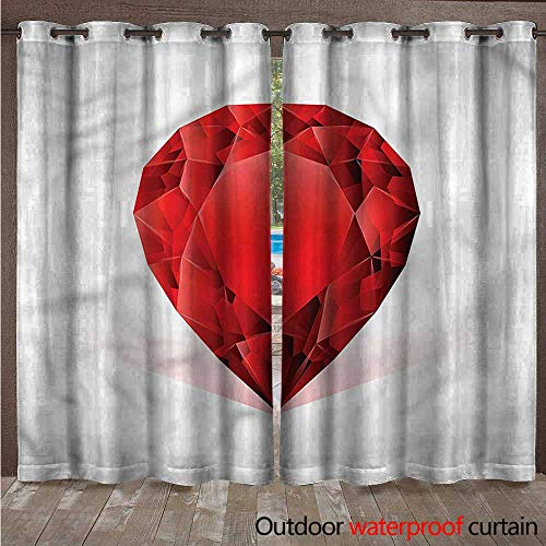 cobeDecor Diamonds Outdoor Ultraviolet Protective Curtains Pear Shaped Rhinestone W108 x L84(274cm x 214cm)