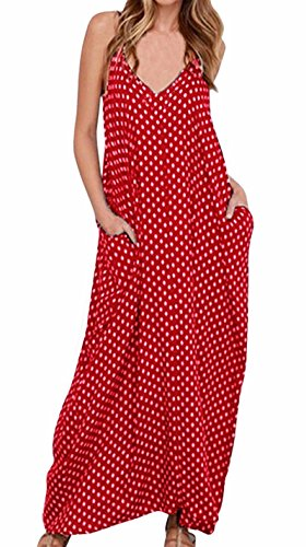 LILBETTER Women V-Neck Polka Dot Print Spaghetti Strap Boho Long Maxi Dresses (XL, Red)