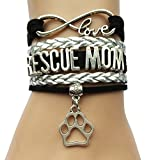 Infinity Love Rescue Mom Bracelet Dog or Cat Paw Charm