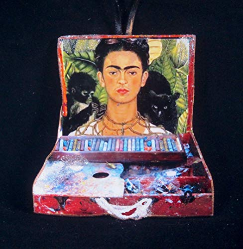 Frida Kahlo Paintbox Ornament Handcrafted Wood Studio, Woman Self-Portrait Mexican Artist, Artist's Gift, Casa Azur Black Cat Monkey Palms ()