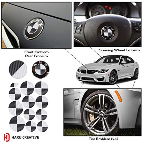 Haru Creative - Vinyl Overlay Aftermarket Decal Compatible with and Fits All BMW Emblem Caps for Hood Trunk Wheel Fender (Emblem Not Included) - Carbon Fiber Black and White (Custom Carbon Fiber Hoods)