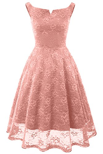 MILANO BRIDE Simple Cocktail Party Dresses Lace Sleeveless Prom Dress Short Length for Women-XXL-Pink