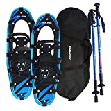 Flashtek Snowshoes for men and women, Light Weight Aluminum Terrain Snowshoes + Pair Anti-Shock Adjustable Snowshoeing Pole + Free Carrying Tote Bag (Blue, 25'')