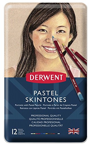 Derwent Pastel Pencils, Skintone, 4mm Core, Metal Tin, 12 Co