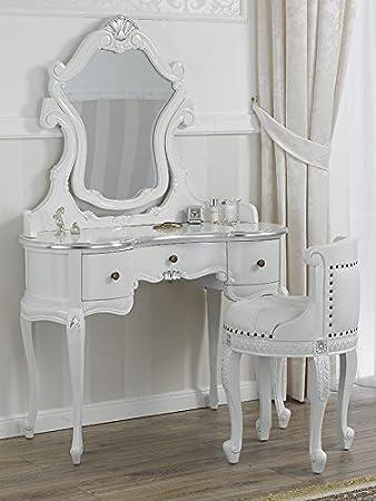 Toeletta ballerina con poltrona stile Barocco Moderno bianco ...