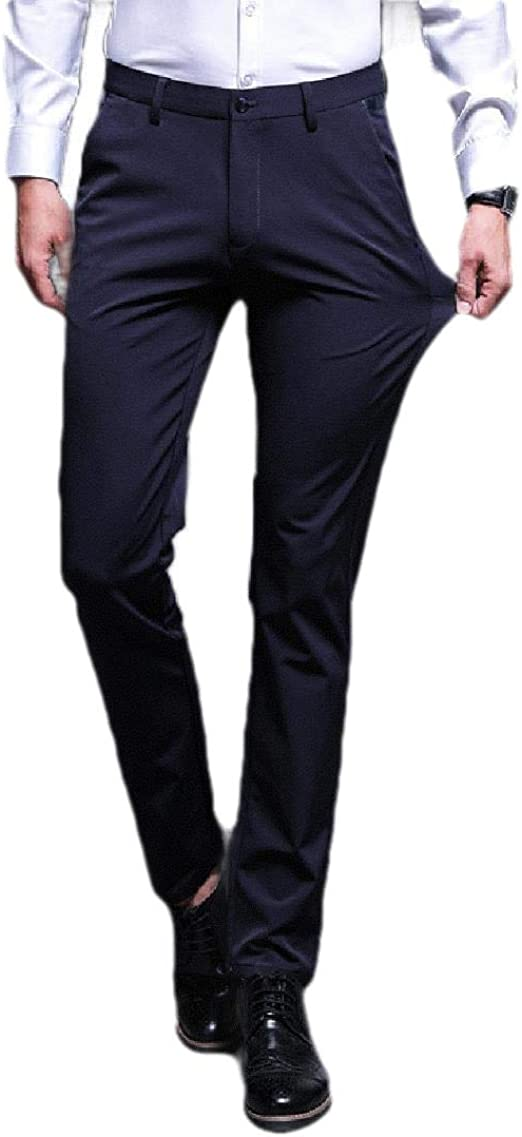 VITryst Men's Relaxed-Fit Straight-Fit Slim Fitted Non-Iron Business Dress Pant