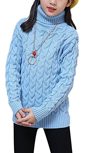 Misses Cable Knit (Girls Classic Warm High Neck Long Sleeve Cable-Knit Cotton Pullover Sweater Top Sweatshirt 140 Blue)