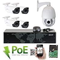 GW Security 8 Channel HD 1920p Security System with 2TB HDD, 7 HD 5MP 1920p 2.8-12mm Varifocal Outdoor Indoor PoE IP Cameras, and 1 20X Zoom 4MP 1520p IP PTZ Camera