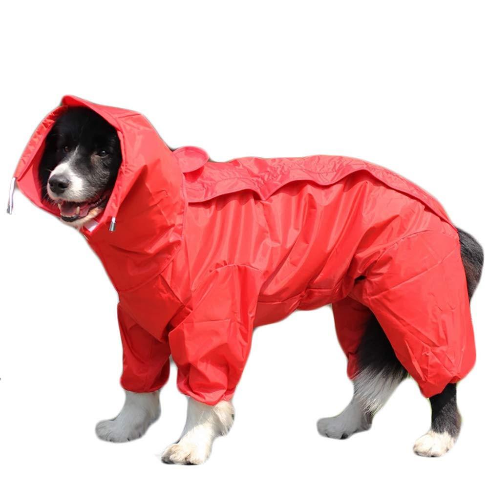 Red 28 Red 28 Dog Raincoat,Removable Hoodie,Adjustable Waterproof Jacket,Red,28