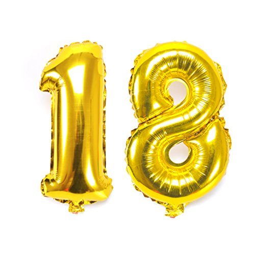 KIYOOMY 40'' Number 18 Balloon Gold Gaint Jumbo Foil Mylar Number balloons For Sweet 18 Birthday Party Adult Ceremony Celebrate Parties Decorations (Places To Buy Balloons Near Me)