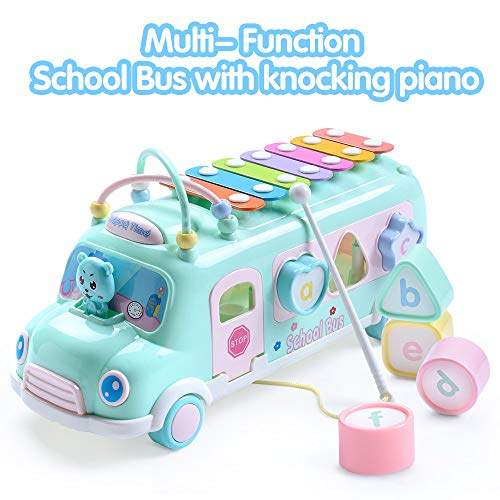 EFOSHM Intellectual School Bus Baby Toy, Piano Bus Toys with Shape Puzzles Knocking Piano Music Educational Toys Gifts for Baby, Toddler, Preschooler(Blue) ()