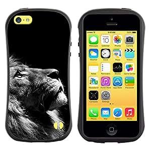 All-Round híbrido de goma duro caso cubierta protectora Accesorio Generación-I BY RAYDREAMMM - Apple iPhone 5C - Lion Photo Black White Looking Up Art