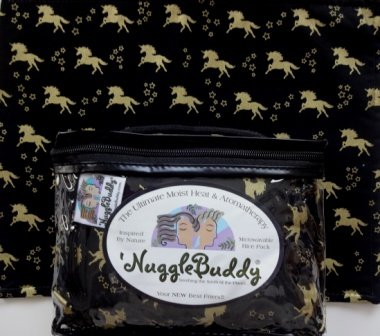 'NUGGLEBUDDY NEW! Microwavable Moist Heat & Aromatherapy Organic Rice Pack. Gorgeous Black & Gold Unicorn Fabric with SWEET LAVENDER Aromatherapy! The Perfect Gift Idea!