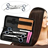 Hair Cutting Shears, Professional Haircutting Scissors, Barber/Salon/Home Thinning Shears Kit with a Black Case, Razor Sharp Stainless Steel & Fine Adjustment Tension Screw, Size 6.0″