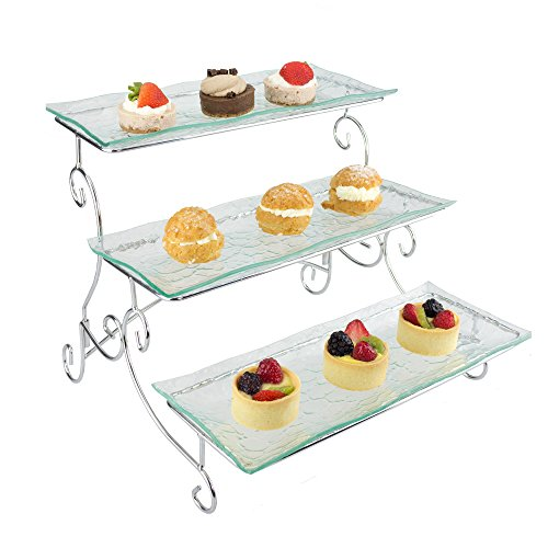 Ornamental 3 Tier Server - Tiered Serving Platter Stand & Trays - Perfect for Cake, Dessert, Shrimp, Appetizers & More