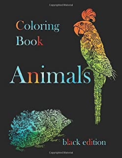 Animals Coloring Book Black Edition 50 Designs On Paper Stress Relief