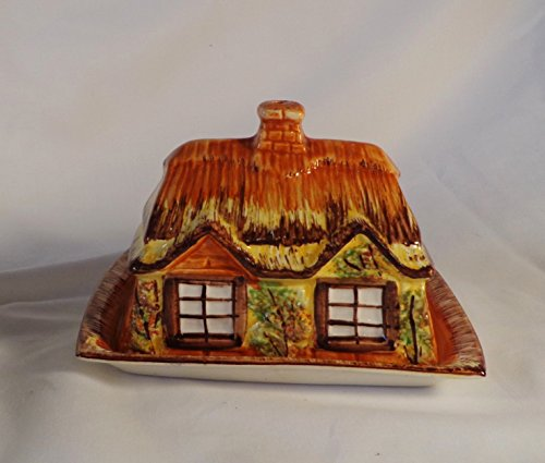 (BUTTER / CHEESE DISH, COTTAGE, MADE IN ENGLAND)