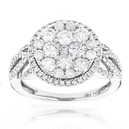Luxurman Designer Diamond Cluster Unique Engagement Ring (1.9 Ctw, H-I Color, SI1-SI2 Clarity)