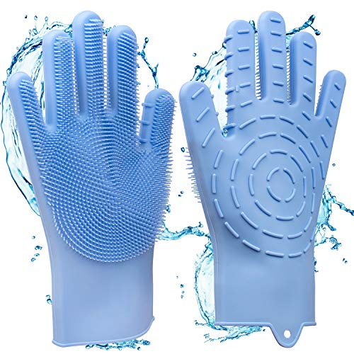 2 in 1 Magic Silicone Gloves, Dishwashing Cleaning Gloves & Heat Resistant Oven Gloves, with Wash Scrubber Non-Slip Design Great Kitchen Tool, for Dish Washing Car Washing Pet Hair Care, ()