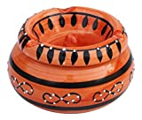 SouvNear BIG SALE - Moroccan Ashtray Ash Tray with Lid Ashtray for Outdoor and Indoor with 3 Cigarette Holder Slots - Hand Painted Smoking Smoke