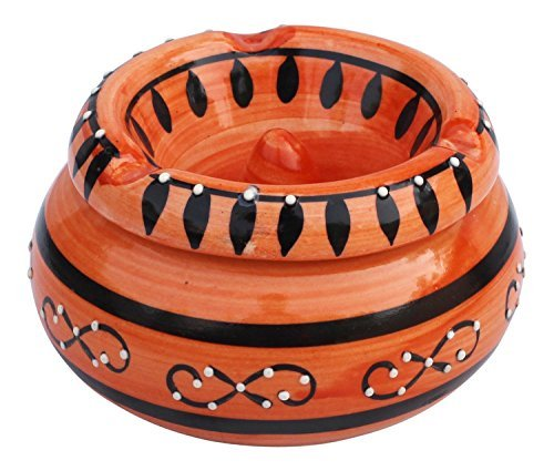 SouvNear BIG SALE - Moroccan Ashtray Ash Tray with Lid Ashtray for Outdoor and Indoor with 3 Cigarette Holder Slots - Hand Painted Smoking Smoke by SouvNear