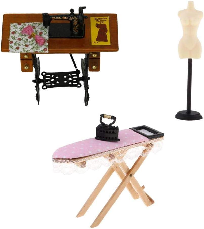 N/ähmaschine Und Schaufensterpuppe Modell St/änder Kleidung Stent Toygogo 3er Pack 1:12 Puppenhaus Miniatur M/öbel B/ügelbrett Set